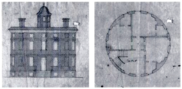 round house elevation and floor plan, samuel waring, c. 1715
